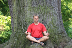 Young man meditating. Under a huge old oak tree Royalty Free Stock Photography