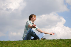 Young man meditation Royalty Free Stock Photo