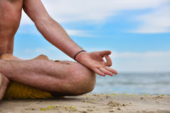Young man in meditation Stock Photos