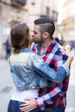 Young man meeting his girlfriend Royalty Free Stock Images