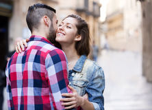 Young man meeting his girlfriend Royalty Free Stock Image