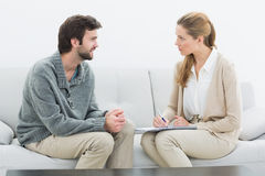 Young man in meeting with a psychologist Royalty Free Stock Images