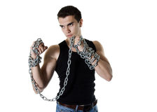 Young man with a metal chain Stock Photos