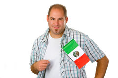 Young man with mexican flag. Isolated on white background stock image