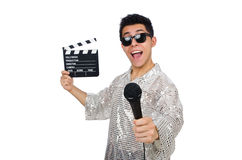 Young man with microphone and clapperboard Stock Photography