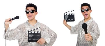 The young man with microphone and clapperboard isolated on white Royalty Free Stock Photos