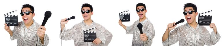 The young man with microphone and clapperboard isolated on white Stock Photo