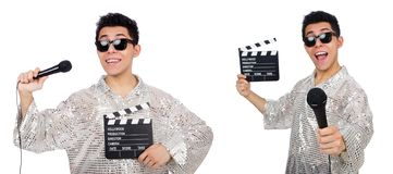 The young man with microphone and clapperboard isolated on white. Young man with microphone and clapperboard isolated on white stock photos
