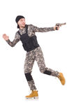 Young man in military uniform holding gun isolated Royalty Free Stock Images