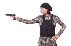 Young man in military uniform holding gun isolated Stock Photos