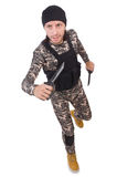 Young man in military uniform holding knife Royalty Free Stock Photography