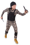 Young man in military uniform holding knife Stock Photography