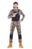 Young man in military uniform holding pistol Royalty Free Stock Photos