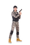 Young man in military uniform holding pistol Stock Photo
