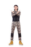 Young man in military uniform isolated on white Stock Photo
