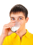 Young Man with a Milk. On the White Background Stock Image