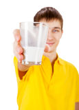 Young Man with a Milk. On the White Background Royalty Free Stock Image