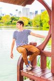 Young Man missing you, waiting for you at Central Park, New York Stock Photo