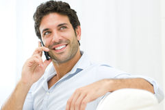 Young man on mobile Royalty Free Stock Image