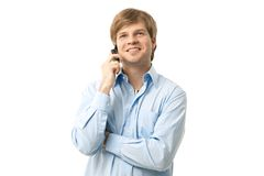 Young man on mobile Stock Image