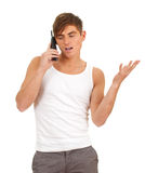 Young man with mobile phone Royalty Free Stock Image