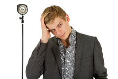 Young man model, hand in hair Royalty Free Stock Images