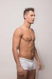 Young man model posing polaroid snapshot. Young adult man model posing polaroid snapshot body Royalty Free Stock Image