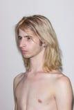 Young man model snapshot polaroid side view.  Stock Photo