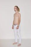 Young man model snapshot polaroid side view.  Royalty Free Stock Image