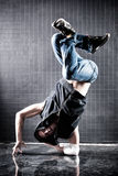 Young man modern dance. Contrast colors stock image