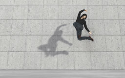 Young man modern dancer. Young man dancing in front of the wall.  This is a 3d render illustration Stock Photos