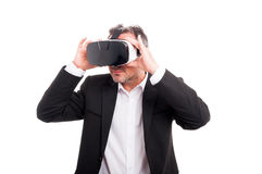 Young man with modern glasses for virtual reality Royalty Free Stock Photo