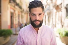 Young man with modern hairstyle Stock Image