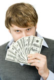 Young man with money Royalty Free Stock Photography