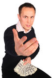 Young man with money invites Stock Photo