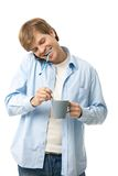 Young man in the morning Stock Photography