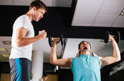Young man motivating gym buddy during shoulder exercise Stock Photos