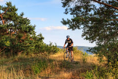 Young Man on a Mountain Bike in Bavaria. Picture of a young man, riding his mountain bike in German Franconia in the hills of the countryside Stock Images