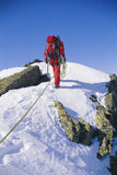 Young man mountain climbing on snowy peak stock images