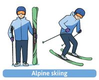 A young man with mountain ski, standing and in motion. Alpine skiing, extreme winter sport, active recreation. Vector Stock Photo