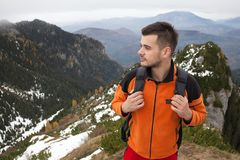 Young man on mountains Royalty Free Stock Photography