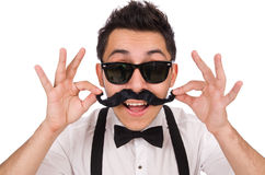 Young man with moustache isolated on white Stock Photography