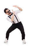 Young man with moustache isolated on white Royalty Free Stock Photography