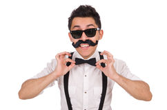 Young man with moustache isolated on white Stock Images
