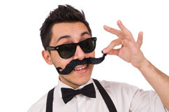 Young man with moustache isolated on white Stock Photos
