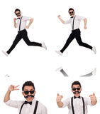 The young man with moustache isolated on white Royalty Free Stock Photos