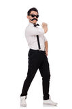The young man with moustache on white Royalty Free Stock Photography