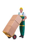 The young man moving boxes with cart isolated on white Stock Image