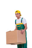 The young man moving boxes isolated on white Stock Photography