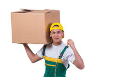 The young man moving boxes isolated on white Stock Photo